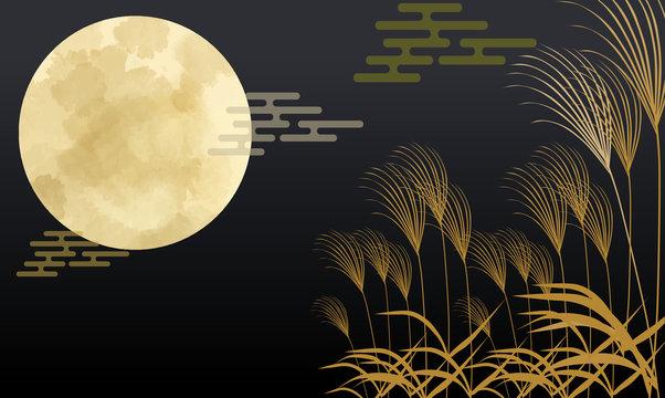 月 十五夜 月 スーパームーン すすき 9月 10月 和風 日本 日本風 和柄 和風 和 星 夜空