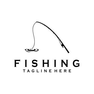 Fishing rod minimalist logo design