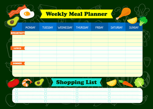 Weekly meal planner with foods illustration. A meal timetable for kids at school. Children weekly meal schedule design template Vector illustration. Shopping list template.