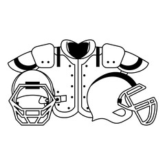 american football sport game cartoon in black and white
