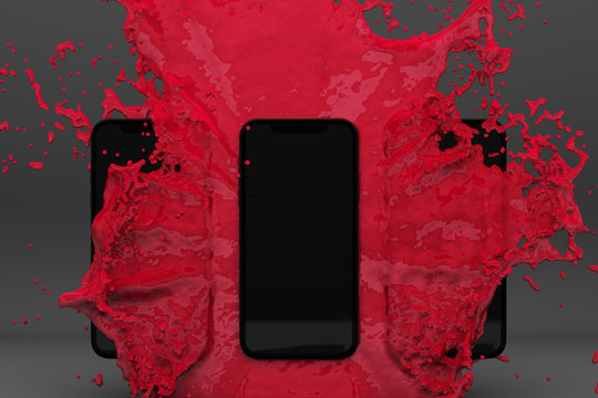 3D rendered image of smartphone splashing into red water on grey background