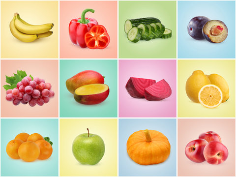 Vegetables and fruits on colorful backgrounds. Set of pictures, seamless background.