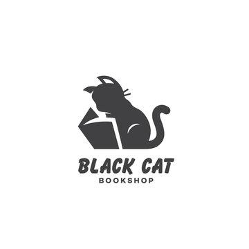 Black cat bookshop logo