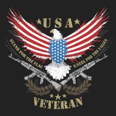 EAGLE USA FLAG AND MACHINE GUN ARTWORK VECTOR