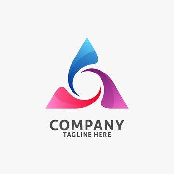 Abstract fresh triangle logo design