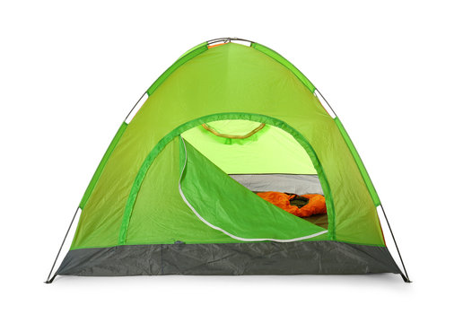 Comfortable green camping tent on white background