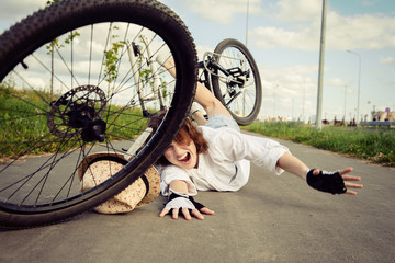 falling from the bicycle Wall mural