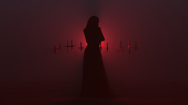 Black Seductive Vampire Devil in a Futuristic Haute Couture Full Body Wrapped Gown and Upside Down Floating Crosses Abstract Demon in a Foggy Void 3d illustration 3d render
