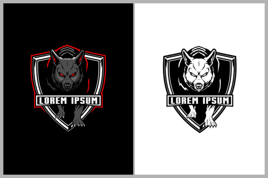 aggressive wolf vector badged logo shield template