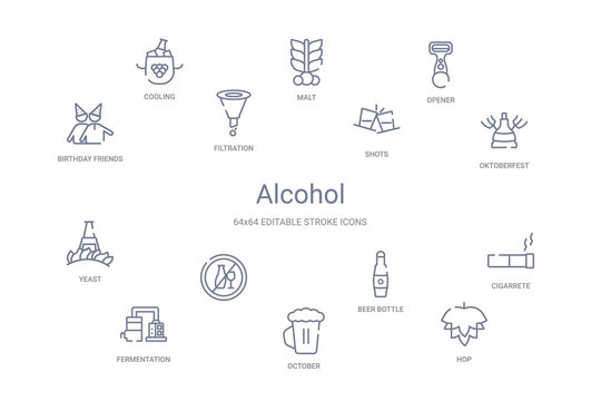 alcohol concept 14 outline icons