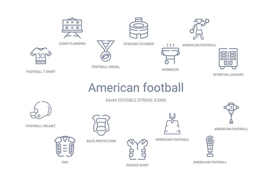 american football concept 14 outline icons