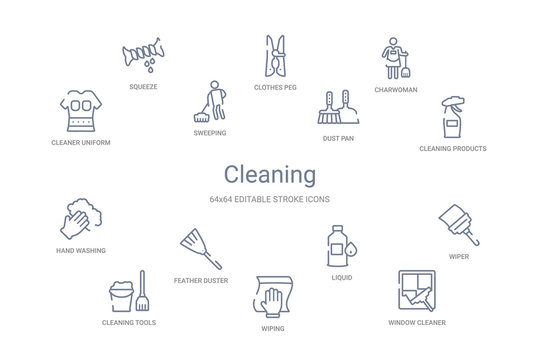 cleaning concept 14 outline icons