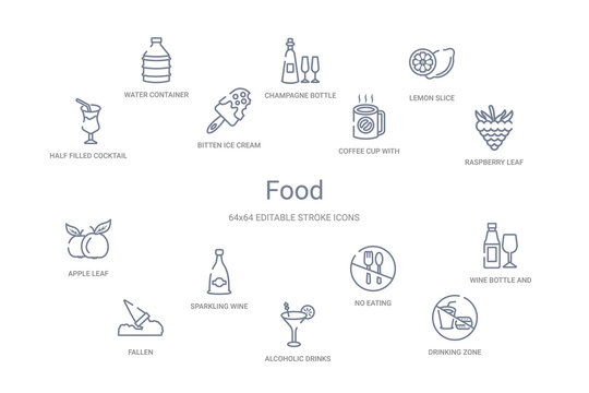 food concept 14 outline icons