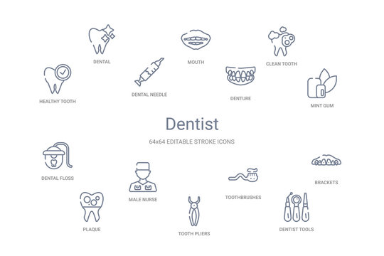 dentist concept 14 outline icons