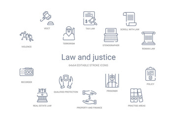 law and justice concept 14 outline icons