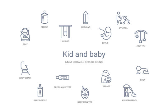 kid and baby concept 14 outline icons