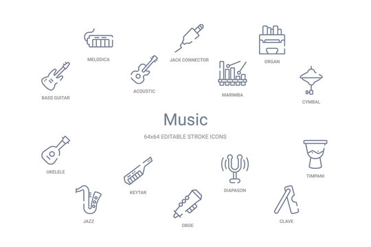 music concept 14 outline icons