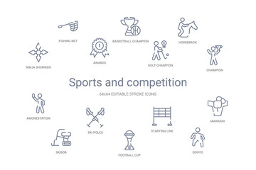 sports and competition concept 14 outline icons
