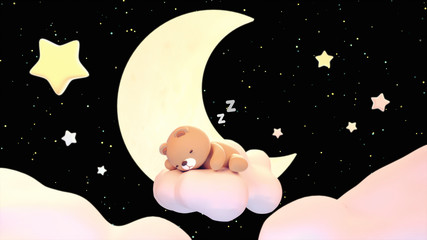 Cute sleeping bear with zzz effect on black background. Concept of sweet lullaby theme. 3d rendering picture.