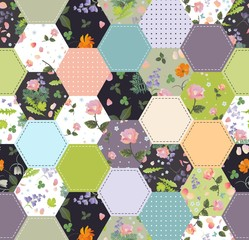 Beautiful seamless patchwork pattern. Hexagonal patches with floral and polka dot ornament. Print for fabtic.