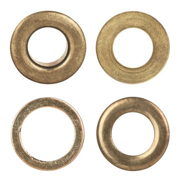 Set eyelets, flat washer and grommets on an isolated white background
