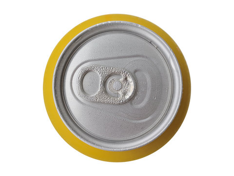 Metal tin of beer from above close up with moisture drops on a surface. Isolated on a white background