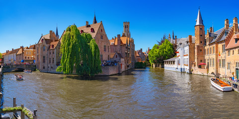 Canvas Prints Bridges Panoramic view of city Bruges (Brugge) old town in Belgium, Europe