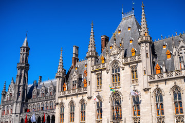Bruges City Hall (Brugge) old town in Belgium, Europe