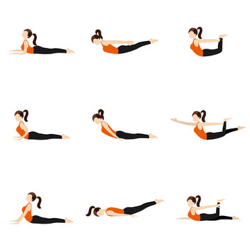 Lying on stomach yoga poses set II/ Illustration stylized woman practicing yoga postures lying on stomach