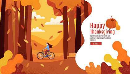Happy Thanksgiving, Autumn, Banner Design Template, vector illustration, Drawing, Cartoon, Landscape Painting Style.