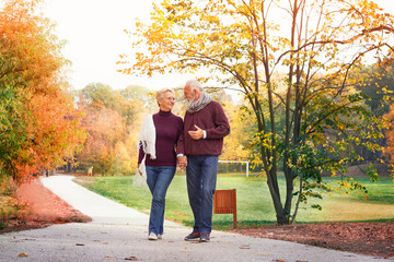 seniors on a walk in autumn forest