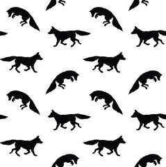 Vector seamless pattern of flat black fox silhouette isolated on white background