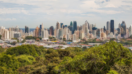 The skyline of Panama City with its modern skyscrapers..