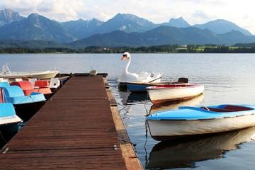 Ruder-und Tretboote am Bootssteg, Berge im Hintergrund, Hopfensee, Allgäu, Bayern