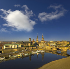Elbe river embankment and Dresden Cathedral of the Holy Trinity or Hofkirche and Dresden Castle, Saxony, Germany