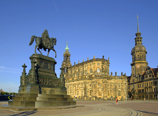Theater Square (Theaterplatz), Statue of King Johann, Dresden Cathedral of the Holy Trinity or Hofkirche and Dresden Castle, Saxony, G