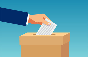 Vector of a hand inserting in box a ballot paper