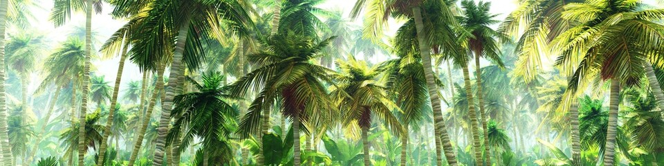 Jungle in the morning in the fog, palm trees in the haze, 3D rendering Wall mural