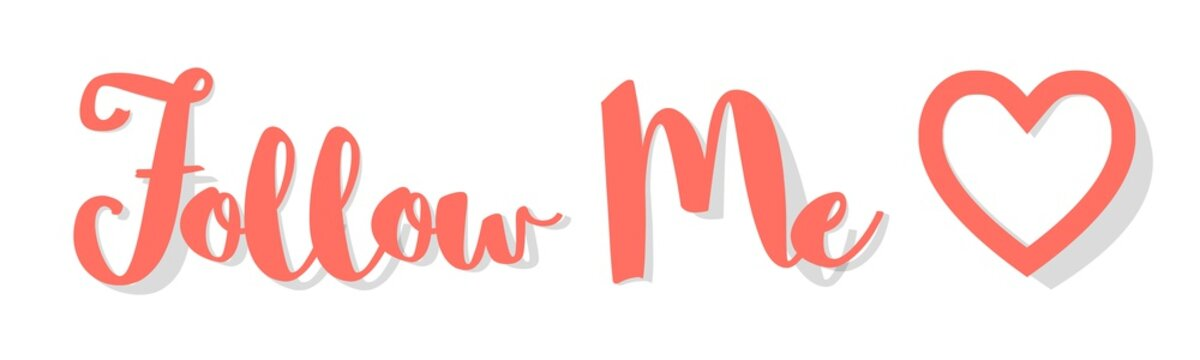 Follow Me Banner Coral color on a white background