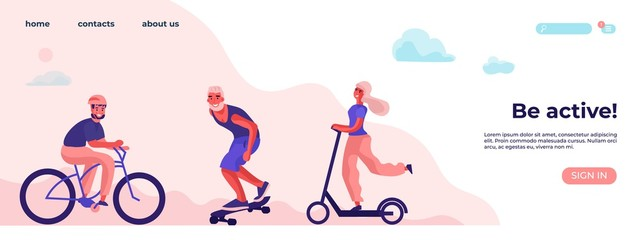 Be active and physical activity. Sports and recreation concept with cartoon character. Flat vector illustration landing page healthy lifestyle