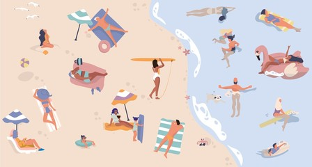 Summer beach with people. Men and women doing vacation activities, swimming lying and sitting cartoon characters. Vector illustration sea active vacation scene, happy lady in bikini