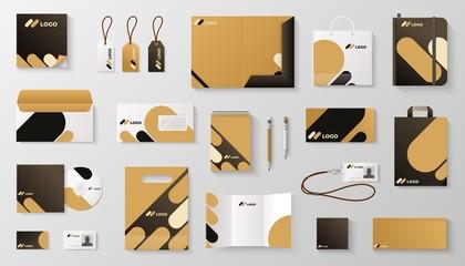 Obraz Set of corporate identity branding mockup. Realistic office stationery branding business card letter envelope mug brand brochure cover. Vector mock up image corporative it branding - fototapety do salonu