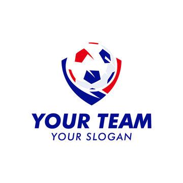 soccer ball logo team with emblem