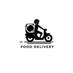 food delivery logo vector icon ilustration, food delivery motor logo vector icon ilustration