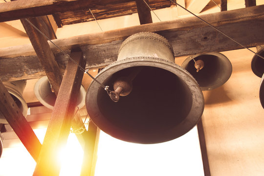 vintage church bell under tower old christian church in Thailand.