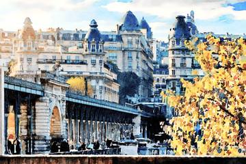 Beautiful Digital Watercolor Painting of the Bir Hakeim bridge in Paris, France.