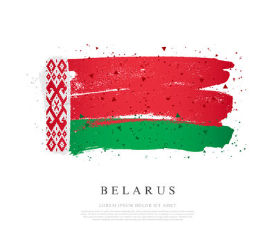 Flag of Belarus. Brush strokes are drawn by hand. Independence Day.