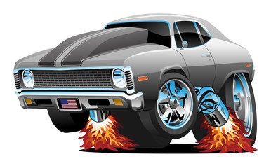 Foto op Plexiglas Cartoon cars Muscle Car Hot Rod Cartoon Isolated Vector Illustration