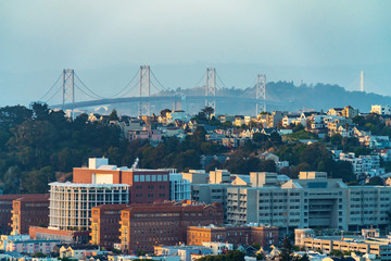 View of San Francisco's Bay Bridge at twilight