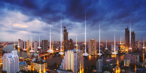 Fototapete - Smart Network and Connection city of Bangkok